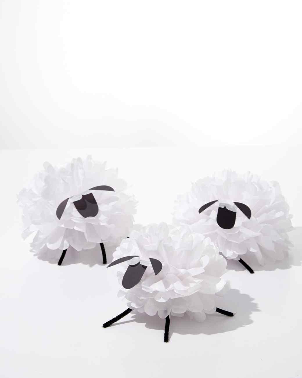 Tissue paper pom pom sheep craft for Cardboard sheep template