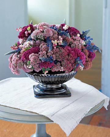 Jewel toned flower arrangement martha stewart for Martha stewart floral arrangements