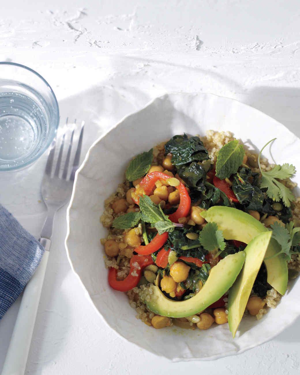 Saffron Chickpeas and Bitter Greens with Quinoa Recipe | Martha ...