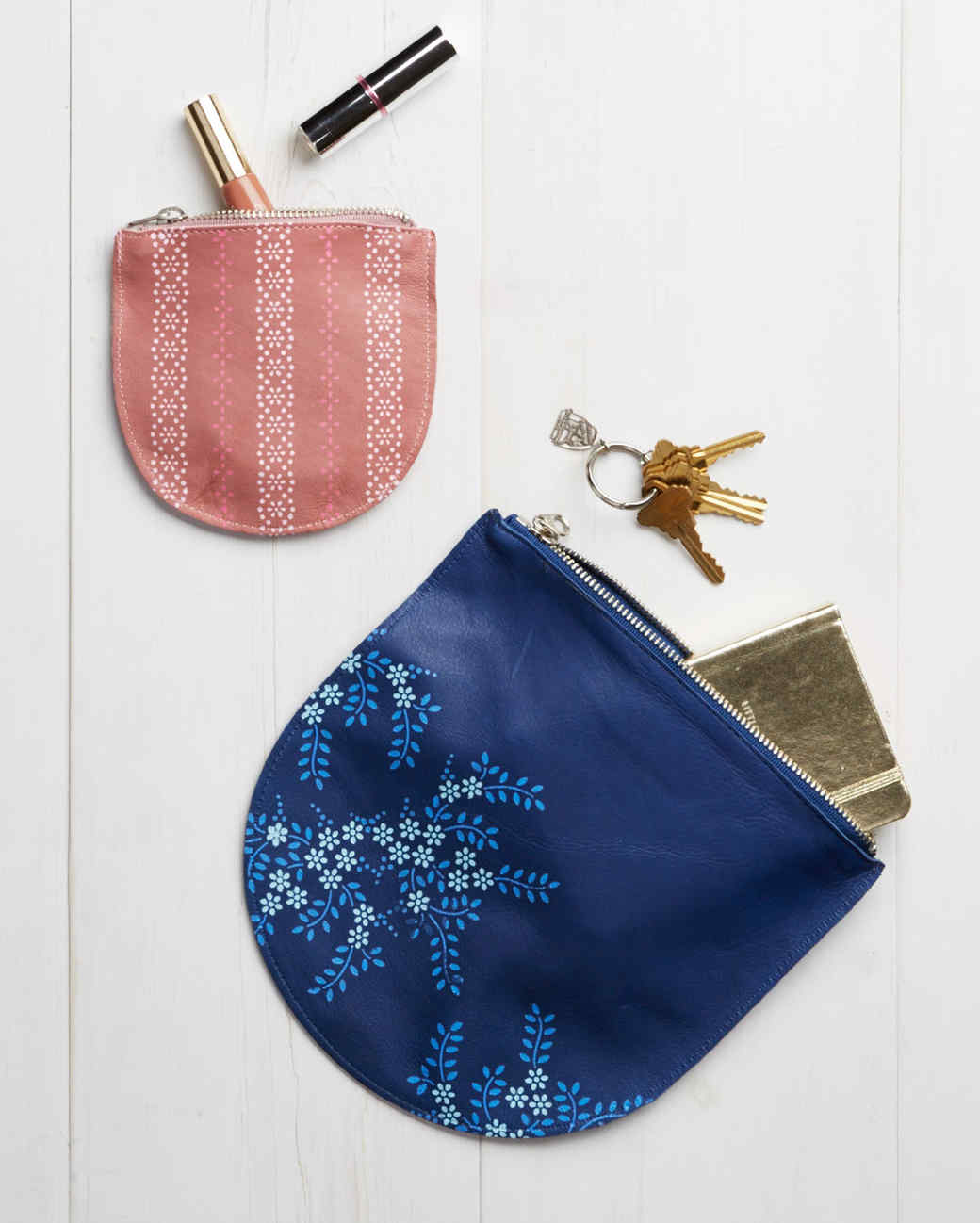 stenciled leather pouches