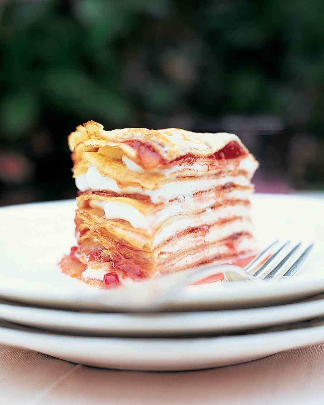 Crepe Gateau with Strawberry Preserves and Creme Fraiche