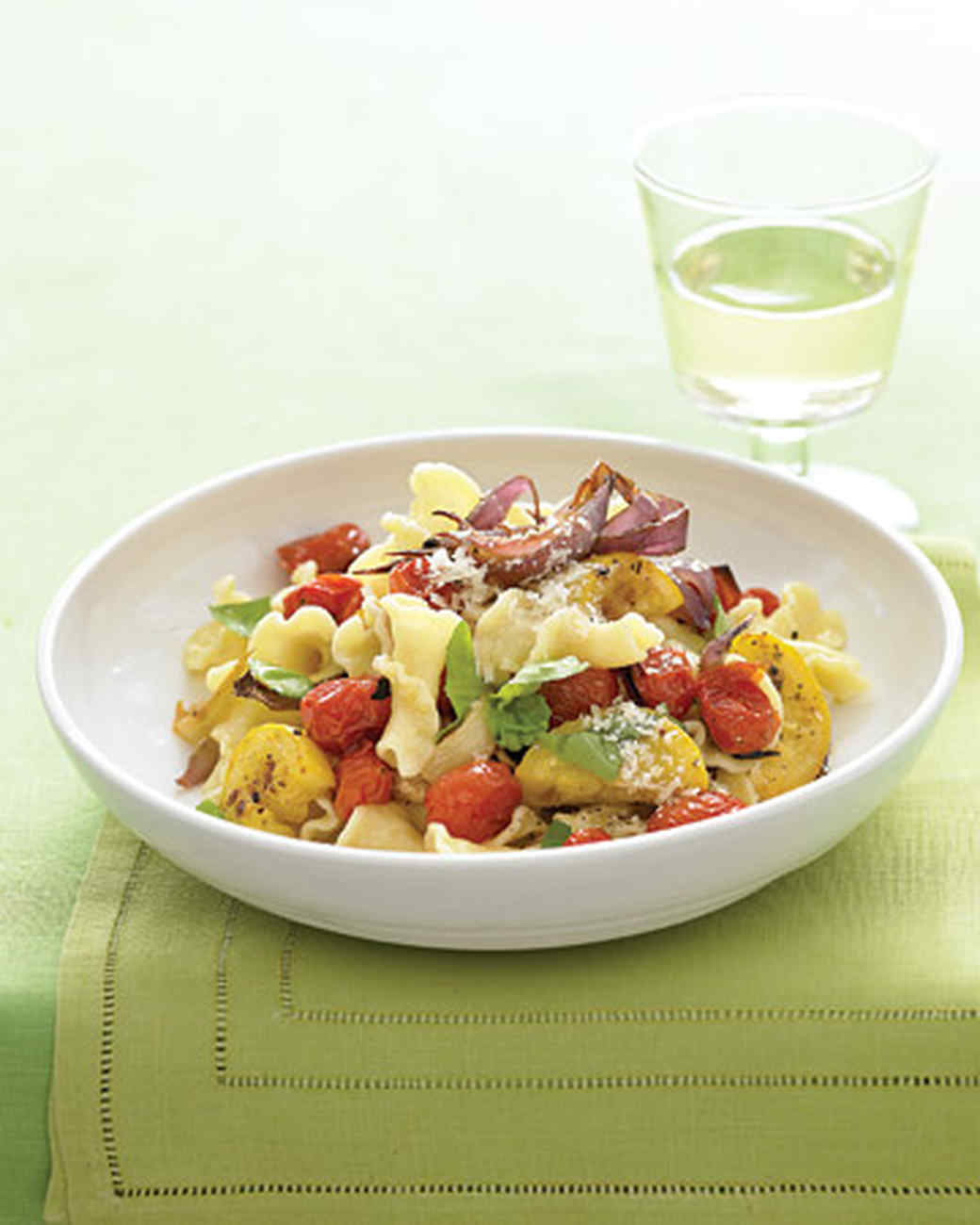 Pasta with Roasted Summer Vegetables and Basil Recipe Martha Stewart