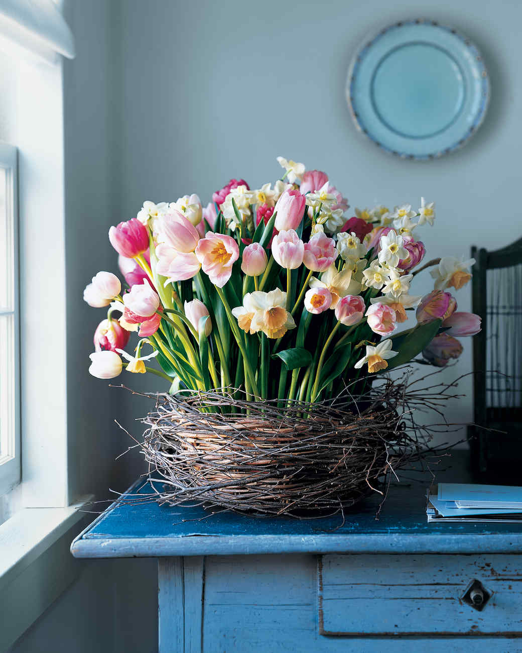 Birch Wrapped Basket With Tulips And Daffodils Martha