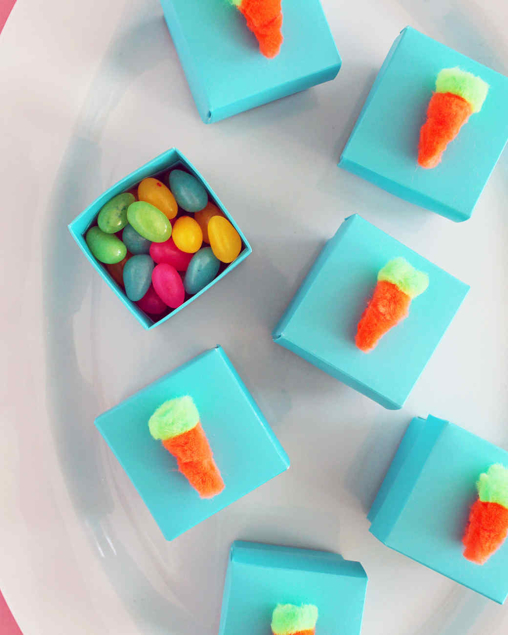 Pom-Pom Carrot Treat Boxes for Easter