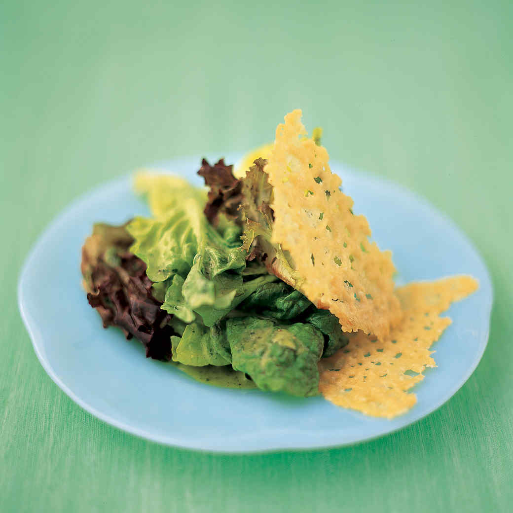 Leaf-Lettuce Salad with Parmesan Crisps