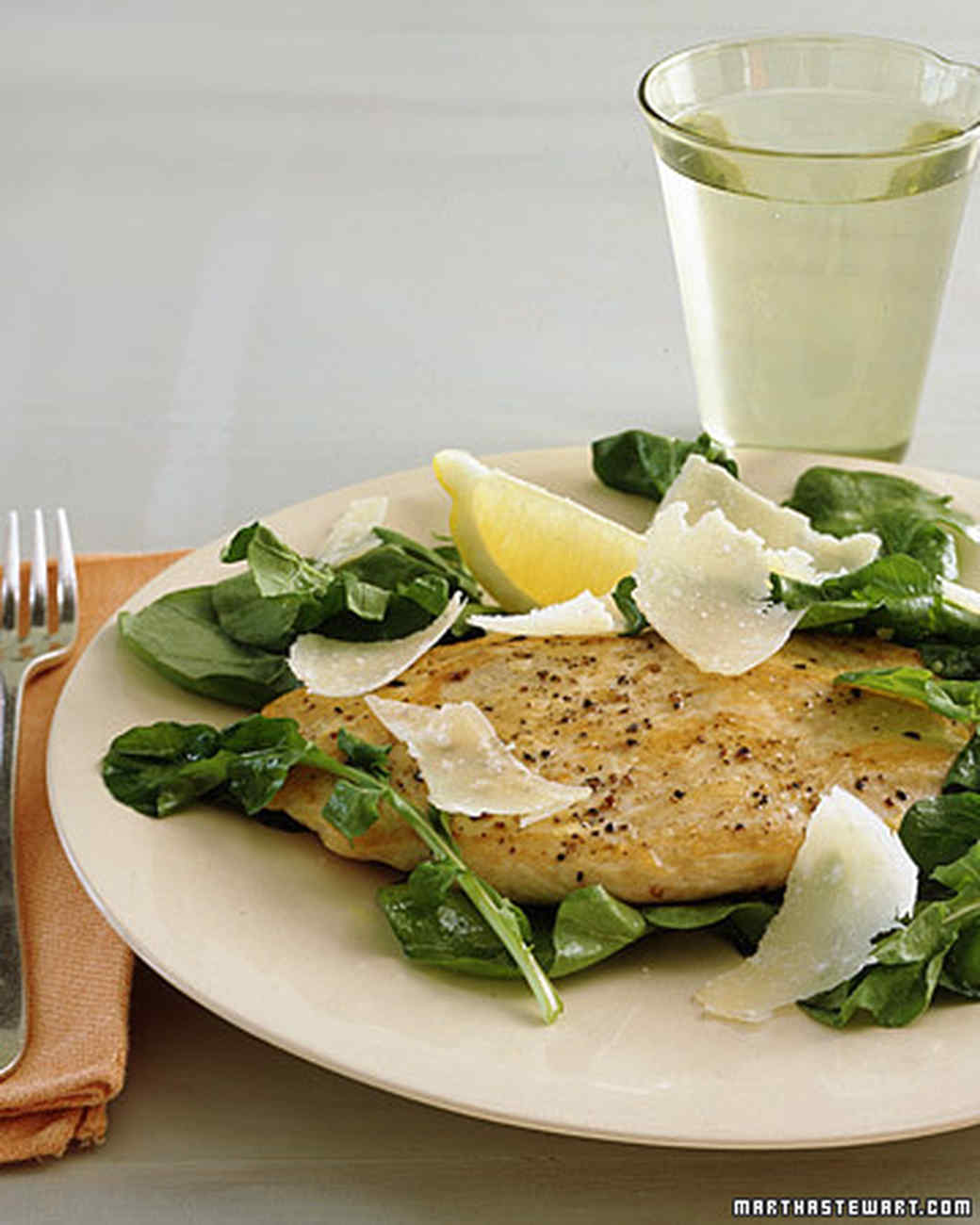 Chicken Scaloppine with Arugula, Lemon, and Parmesan Recipe | Martha ...