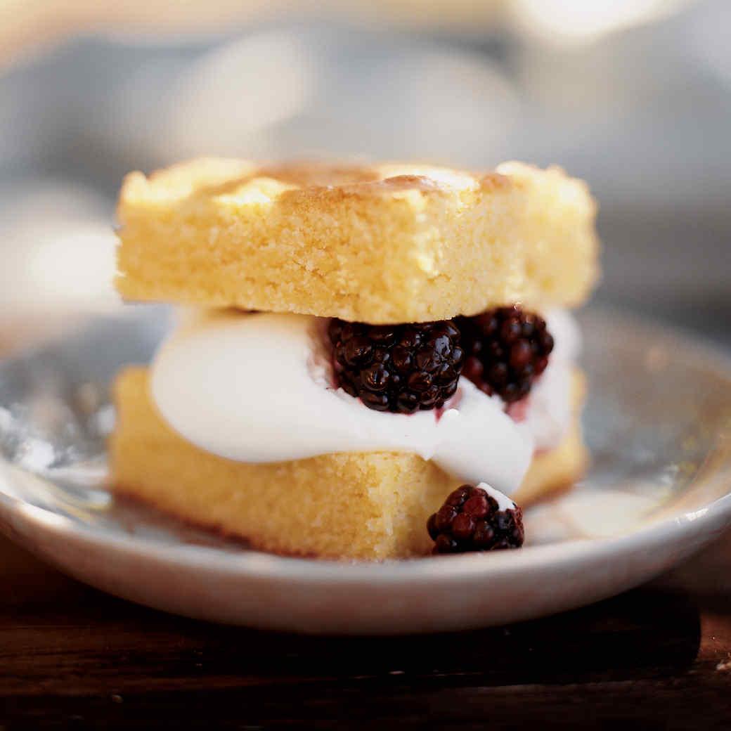 Cornmeal Cake with Cream and Berries
