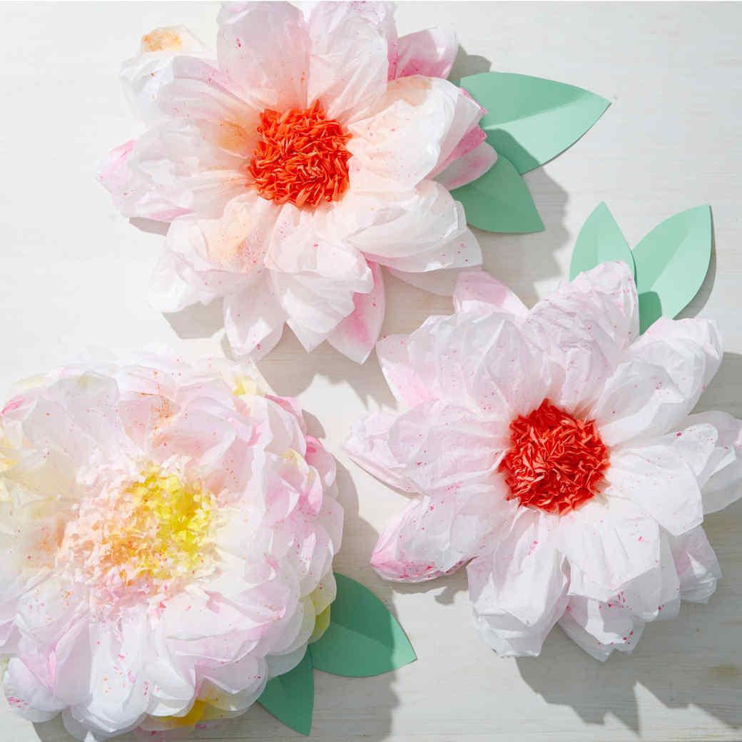 Splattered Tissue Paper Flowers