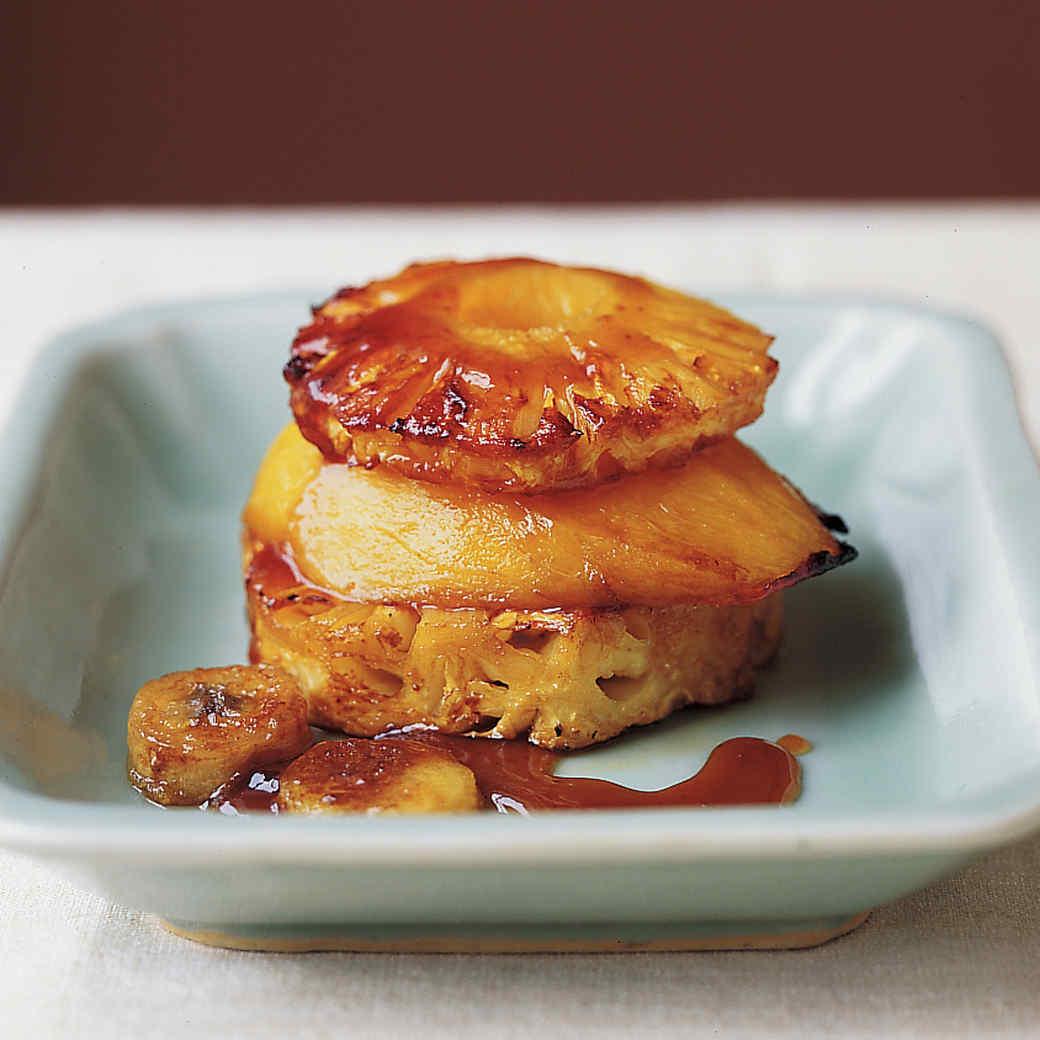 Roasted Mango, Pineapple, and Banana With Maple-Ginger Glaze