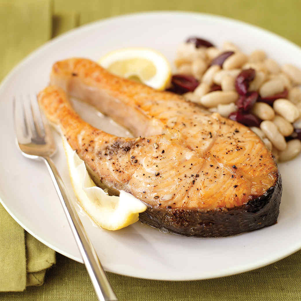 Salmon Steaks with White-Bean and Olive Saute