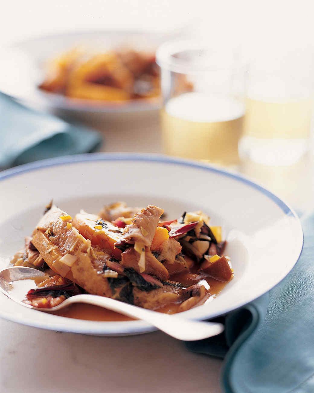 Squash Panada with Wild Mushrooms and Chard