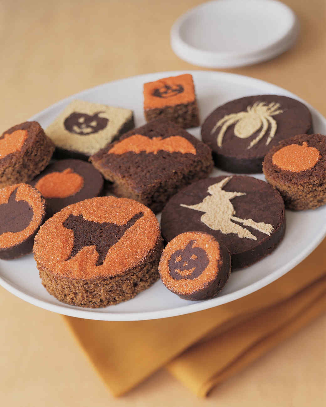 Halloween Brownies with Powdered Sugar Silhouettes