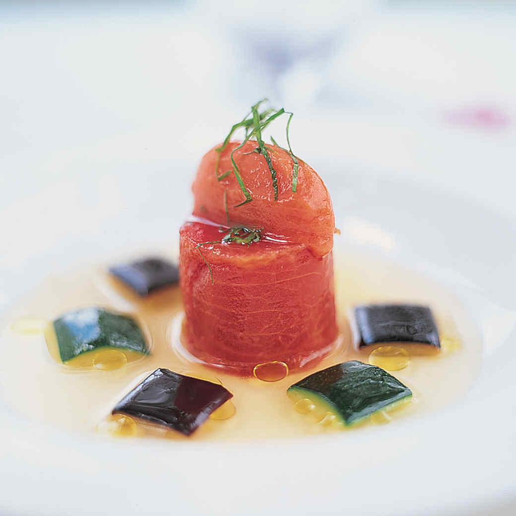 Tomato Essence and Timbale of Pressed Tomatoes