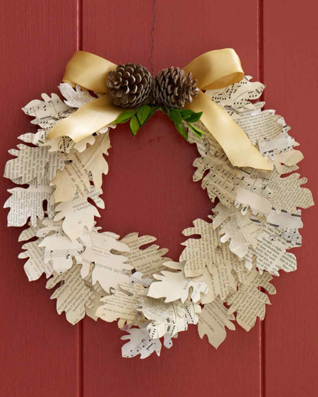 paper leaf wreath martha stewart. Black Bedroom Furniture Sets. Home Design Ideas