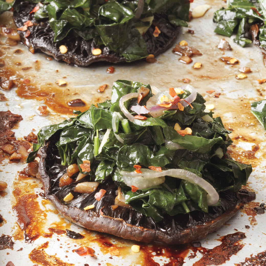Roasted Portobellos with Kale