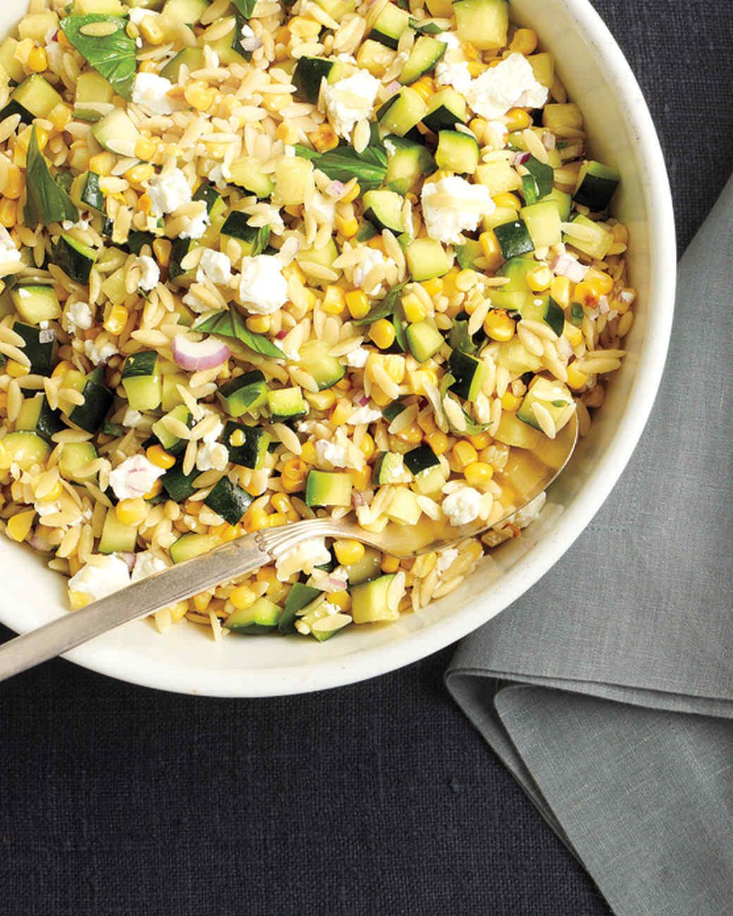 Corn and Zucchini Orzo Salad Recipe & Video | Martha Stewart