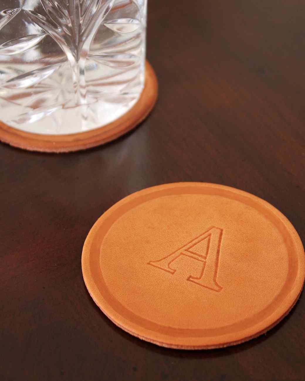 Monogrammed Leather Coasters Martha Stewart