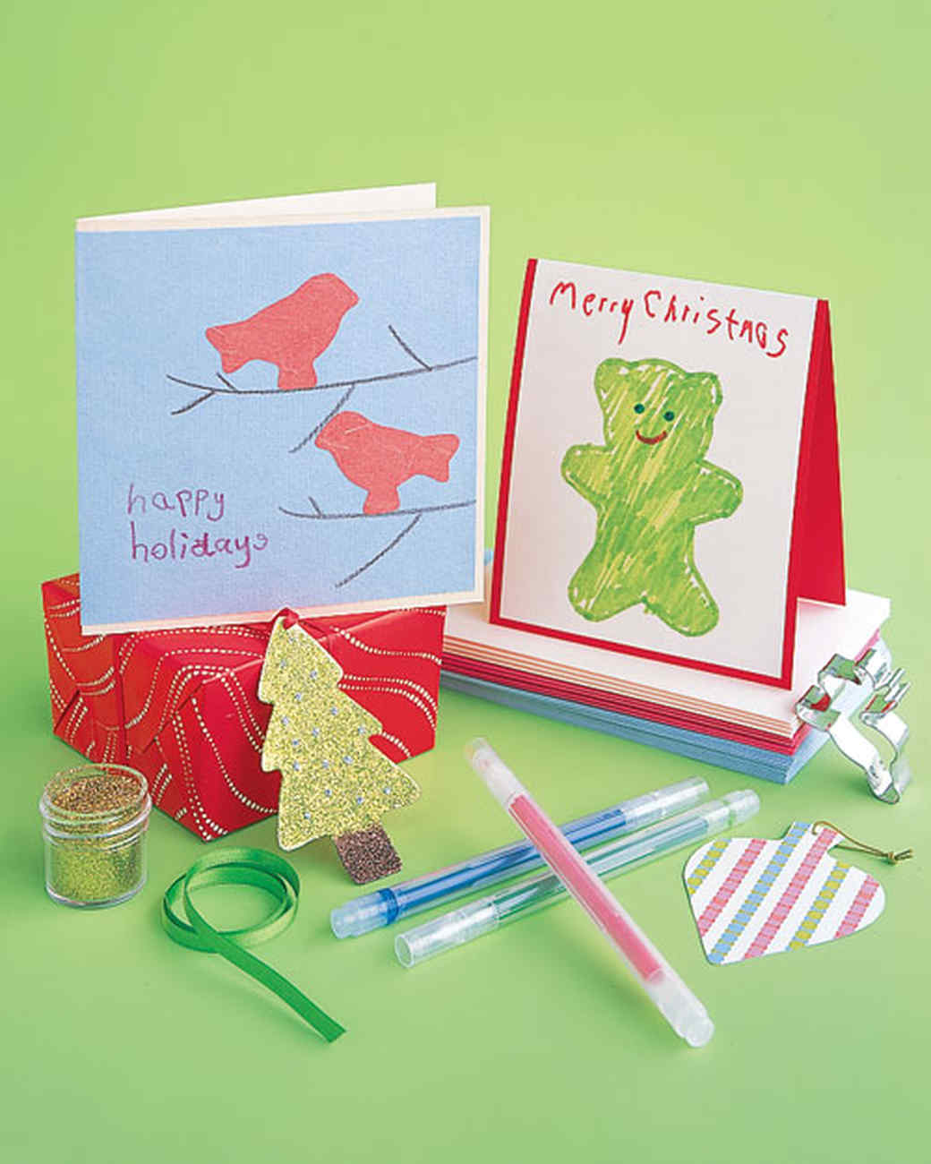 Christmas cards for kids martha stewart for Craft supplies for card making