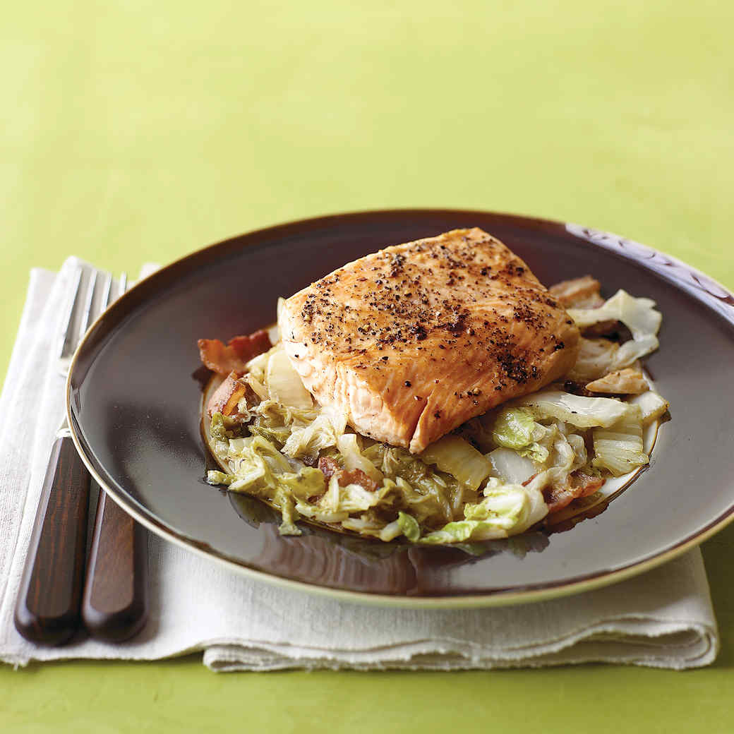 Salmon with Braised Napa Cabbage