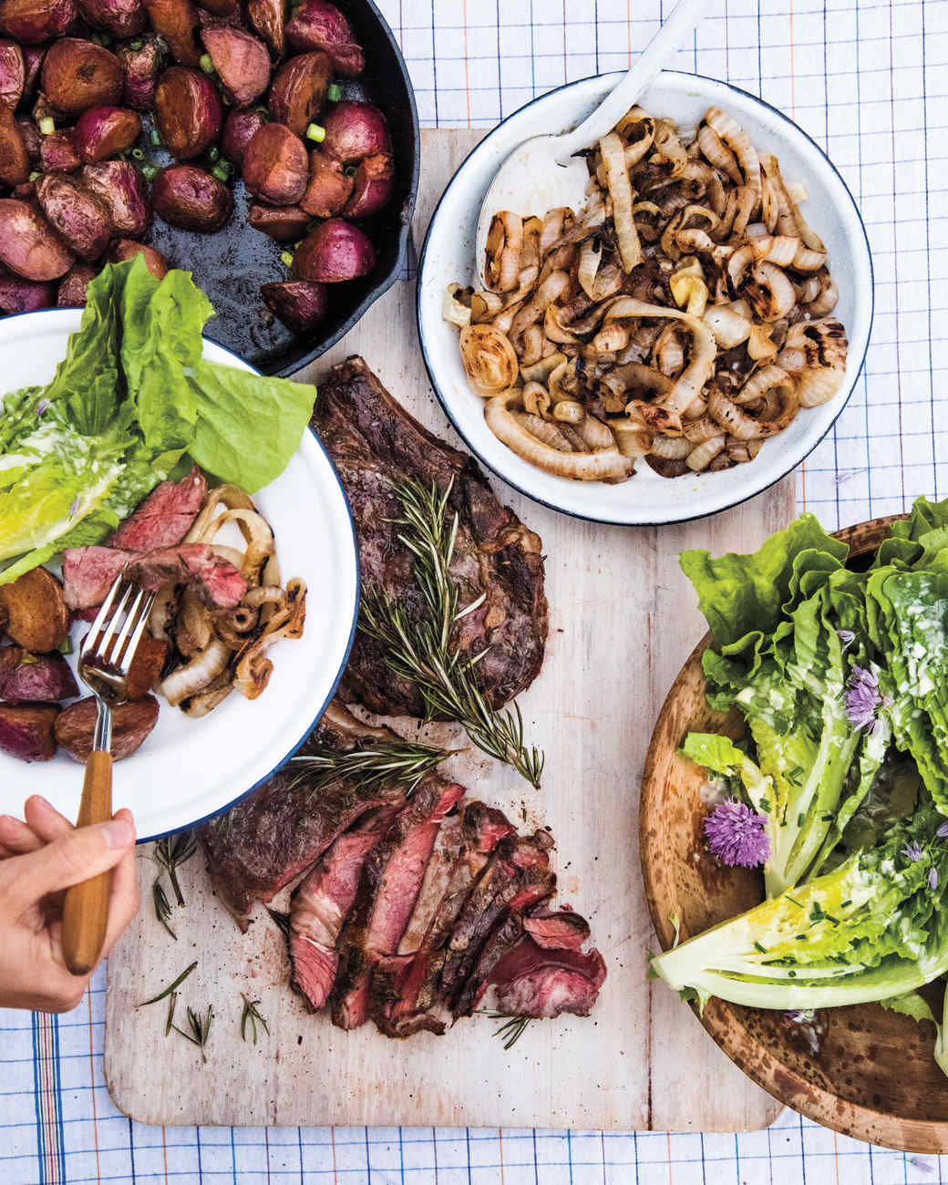 Rosemary grilled steak with sweet onions recipe martha - Macaron herve cuisine ...