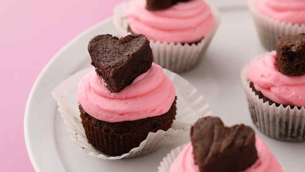 Chocolate Brownie Heart Cupcakes