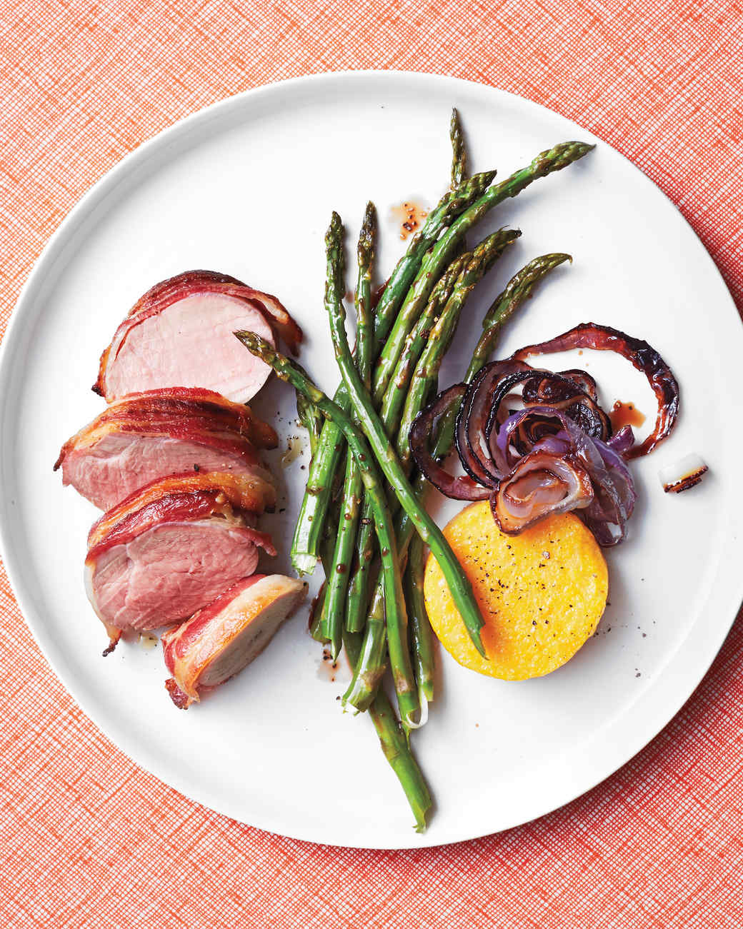 Bacon-Wrapped Pork Tenderloin with Broiled Polenta