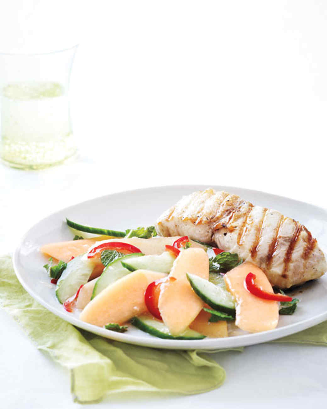 Grilled Fish with Spicy Cantaloupe-Cucumber Salad