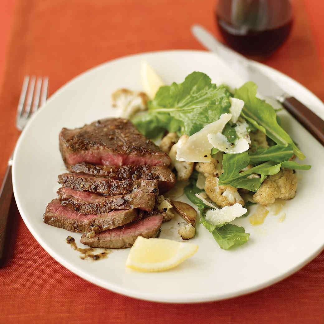 Flat Iron Steak with Cauliflower and Arugula