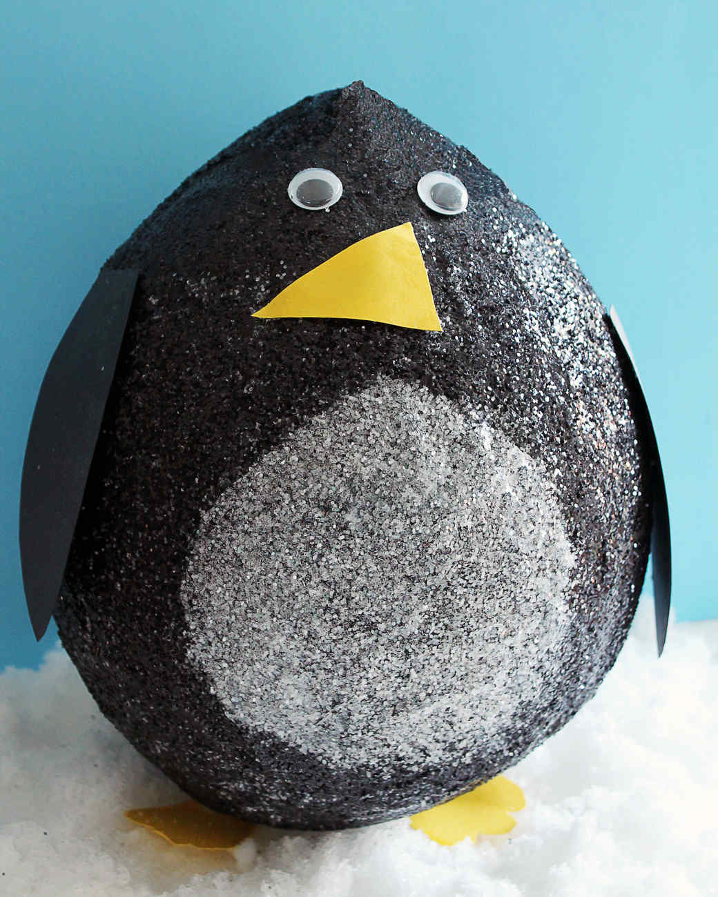 Glittered Papier Mache Penguins Martha Stewart
