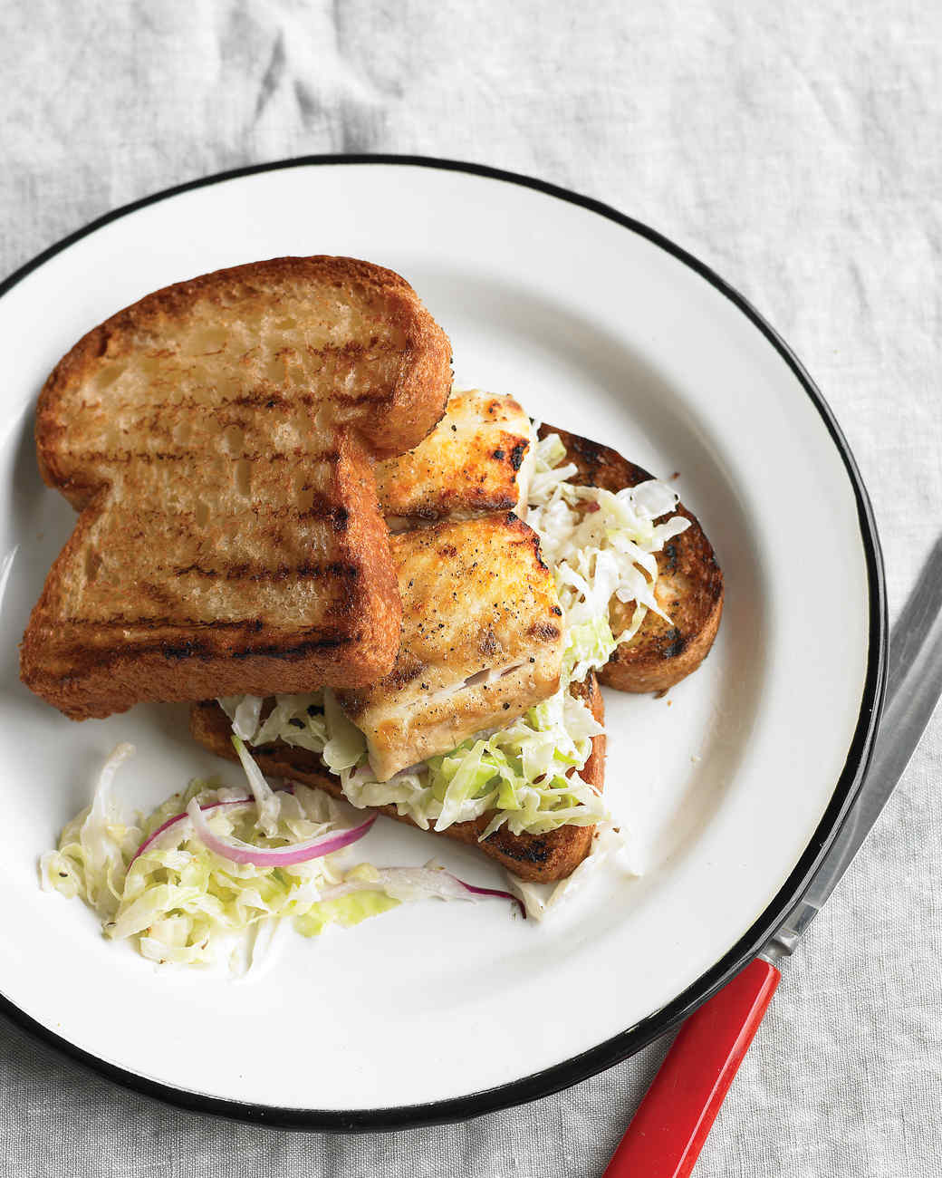 Grilled fish sandwich with cabbage slaw for Bbq fish grill