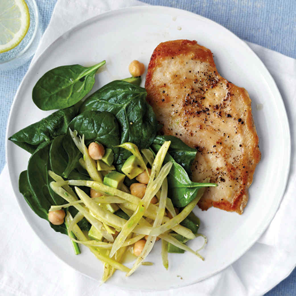 Chicken Cutlets with Wax Beans, Chickpeas, and Spinach