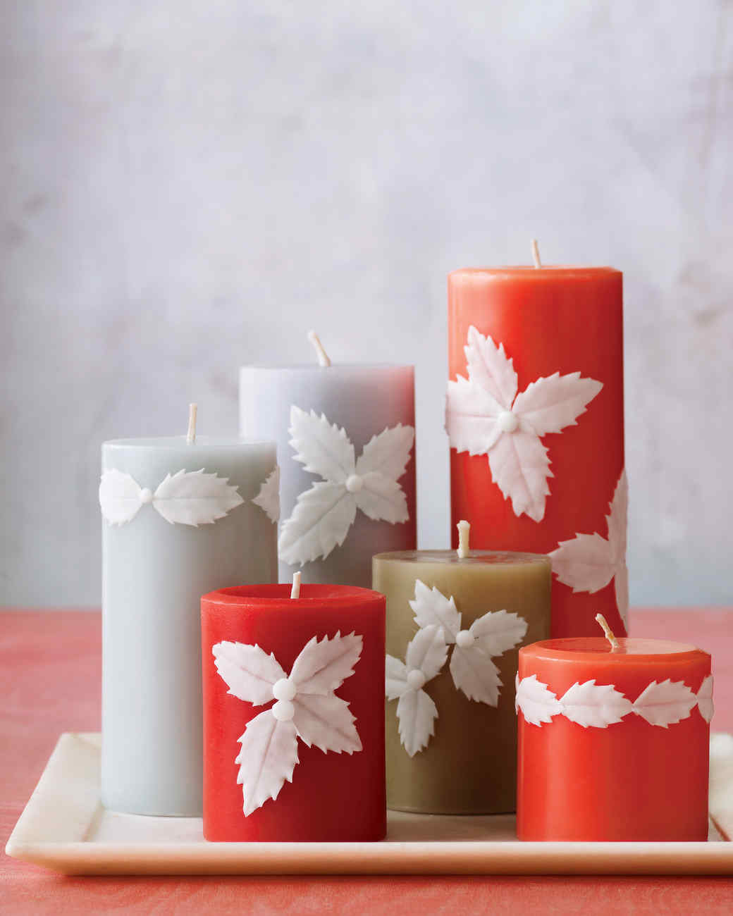 Easy Holly Candles Martha Stewart