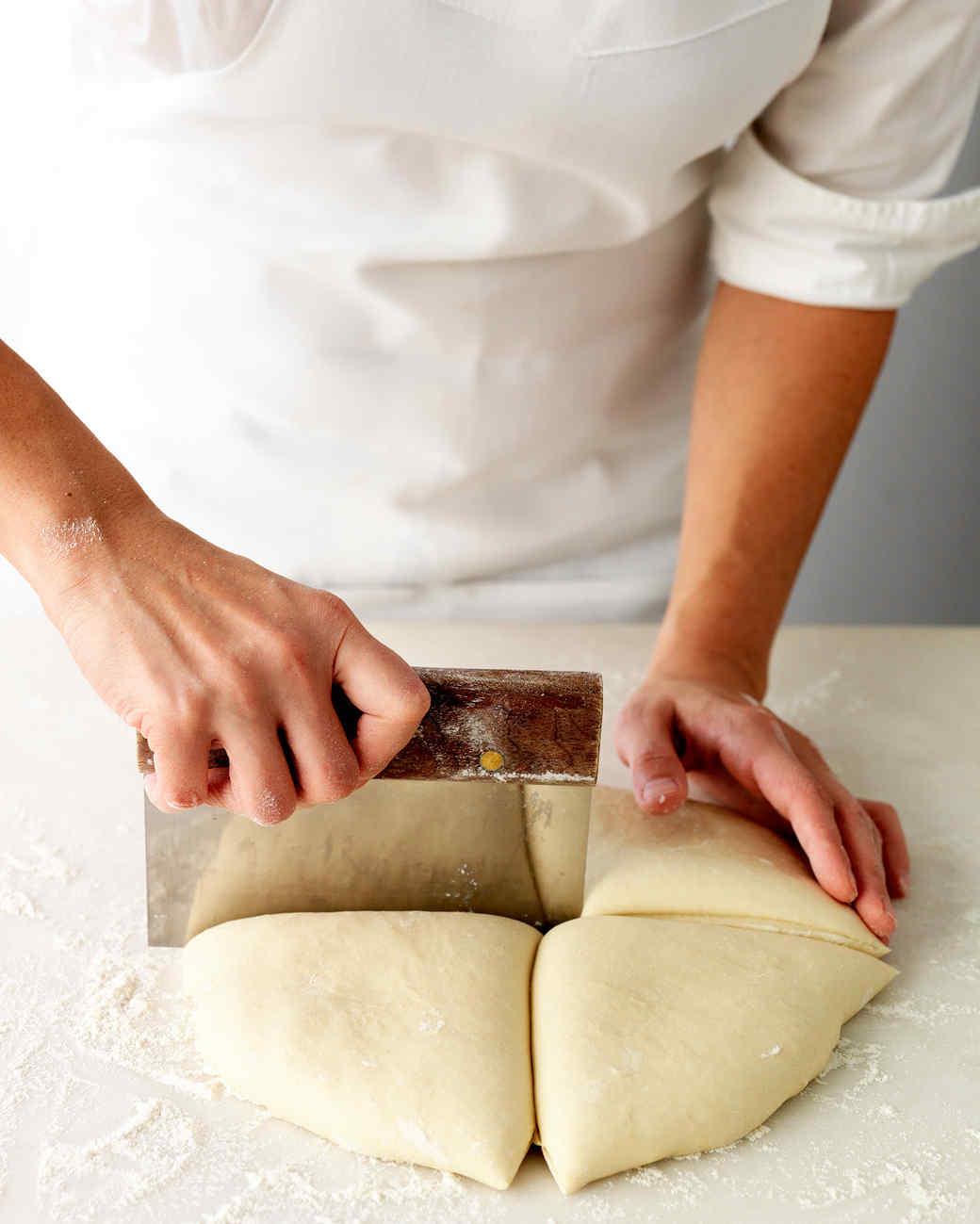 cutting pierogi dough