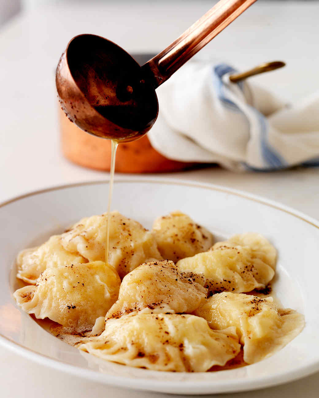 pierogis with sauce