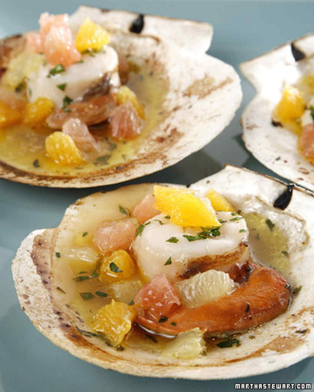 Grilled Scallops In The Half Shell With Citrus Fruits And