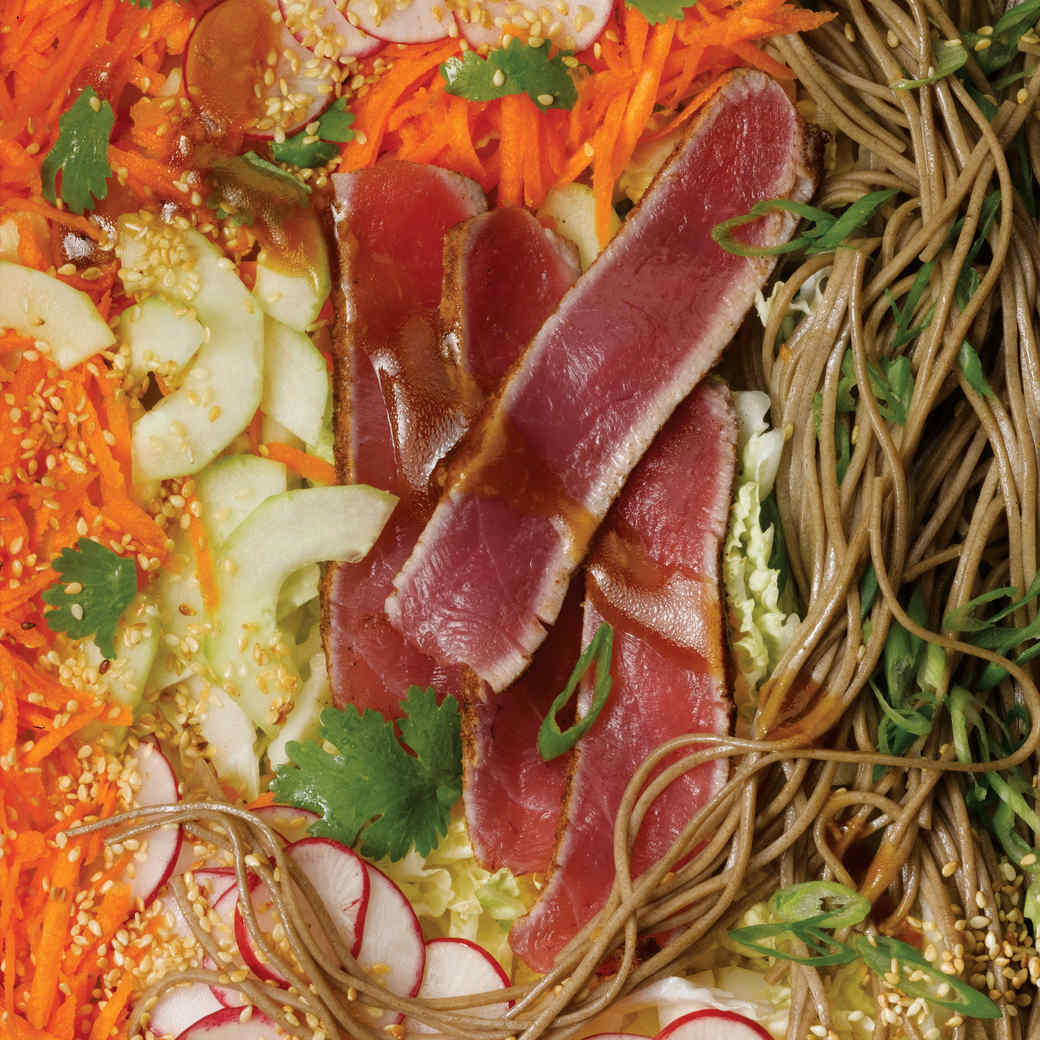 Asian Slaw and Somen Salad with Spice-Rubbed Tuna
