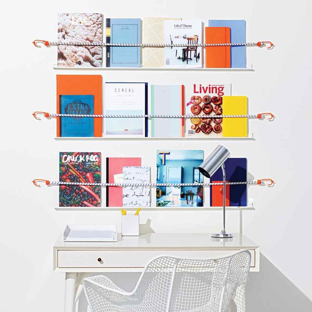 DIY Bungee Cord Shelves