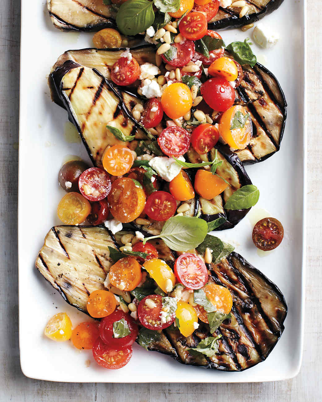 Grilled Eggplant with Tomatoes, Basil, and Feta Recipe  Video