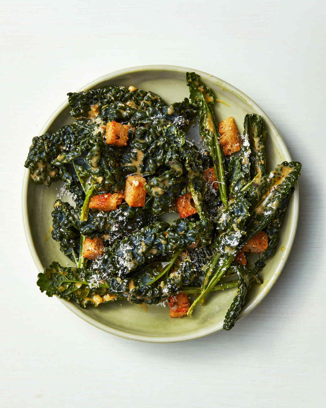 Kale Caesar Salad With Rye Croutons