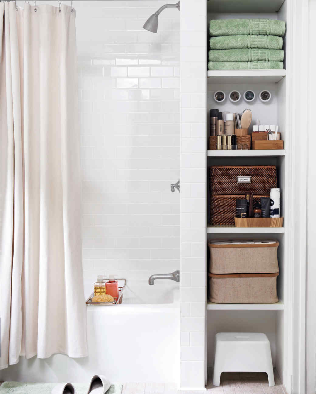 Bathroom Storage smart space-saving bathroom storage ideas | martha stewart