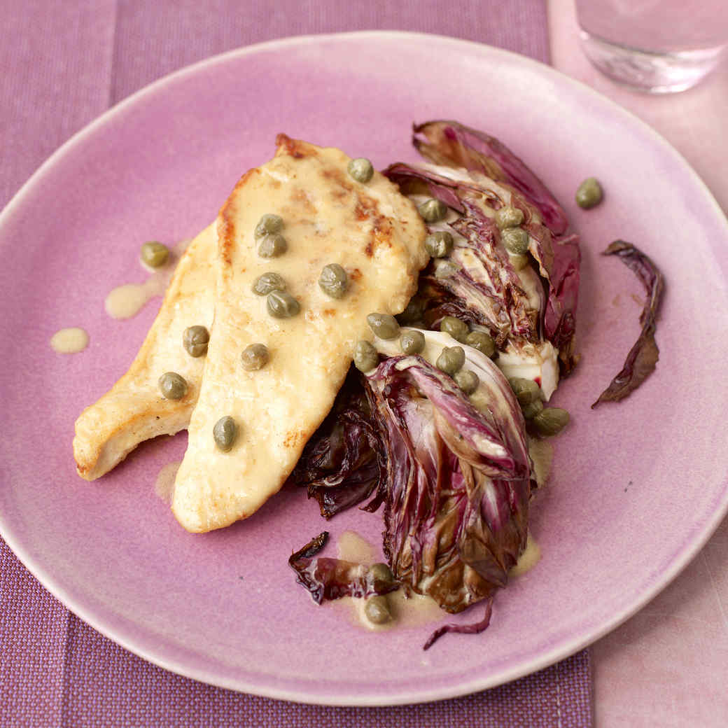 Chicken with Lemon-Mustard Sauce and Seared Radicchio
