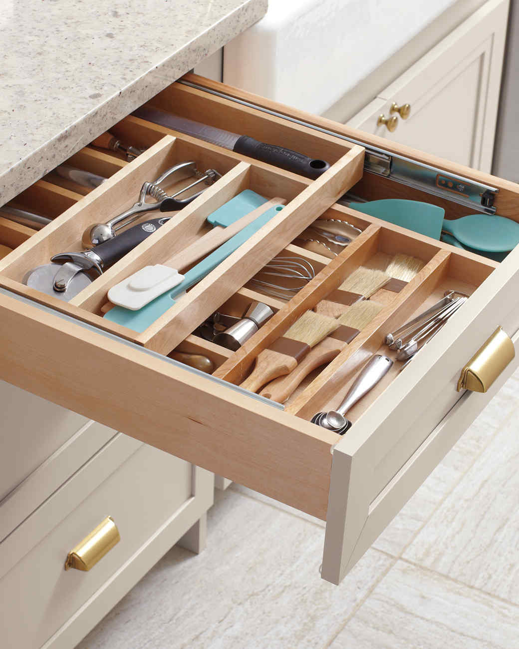 home depot wood tiered cutlery drawer
