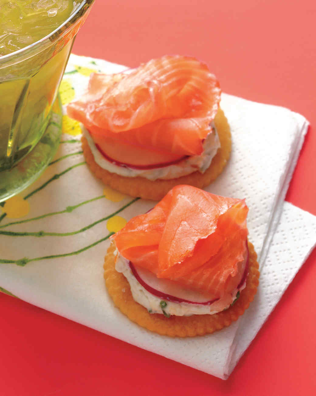 Speedy smoked salmon crackers for Smoked oyster canape