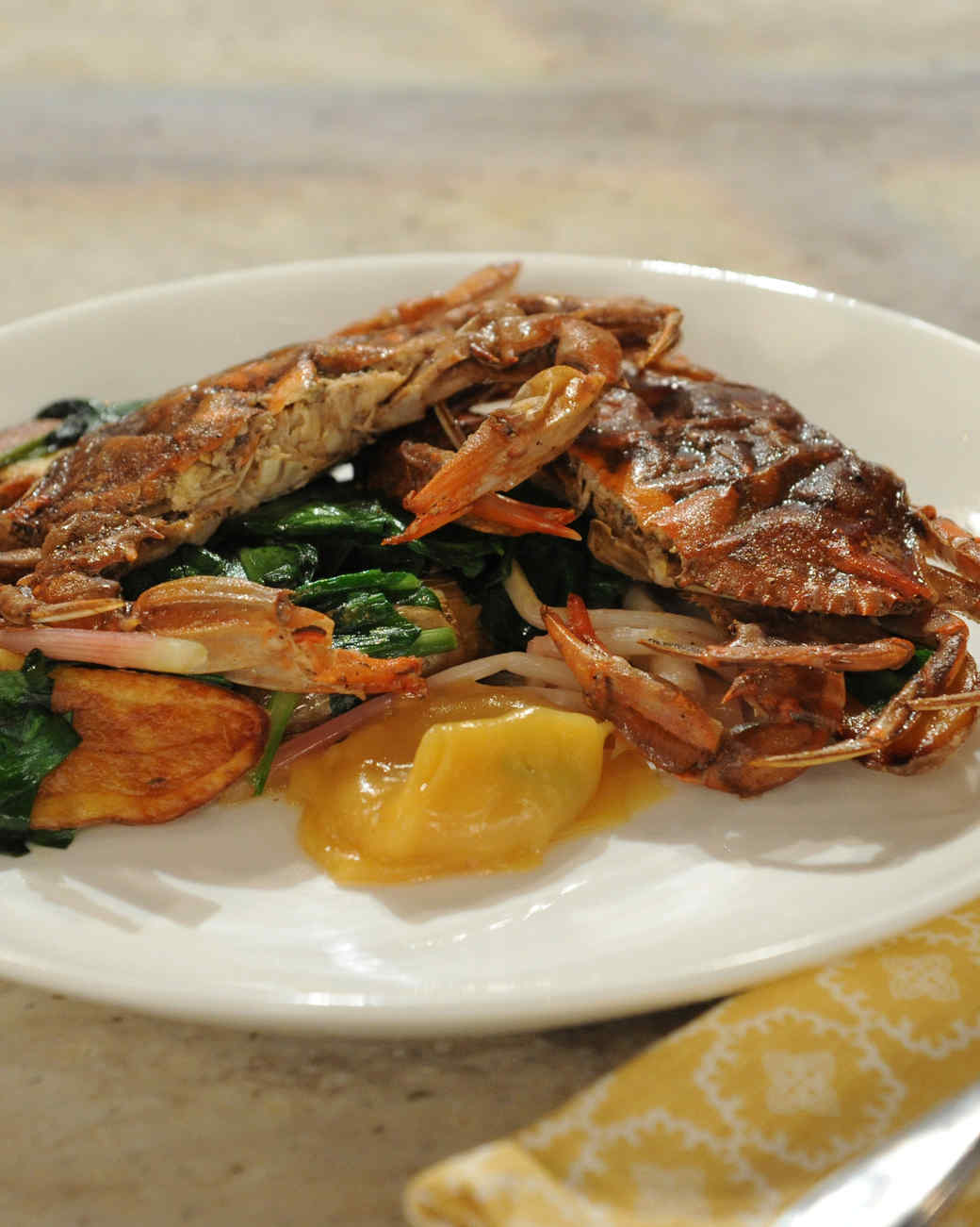 Pan-Fried Soft-Shell Crab with Roasted Fingerling Potatoes, Pickled ...