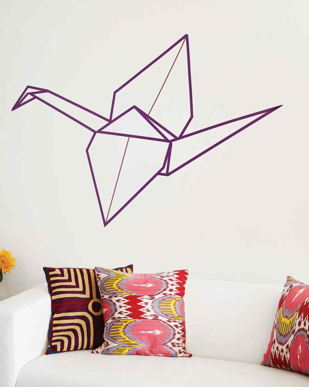 Washi tape origami crane wall art martha stewart for Washi tape wall designs