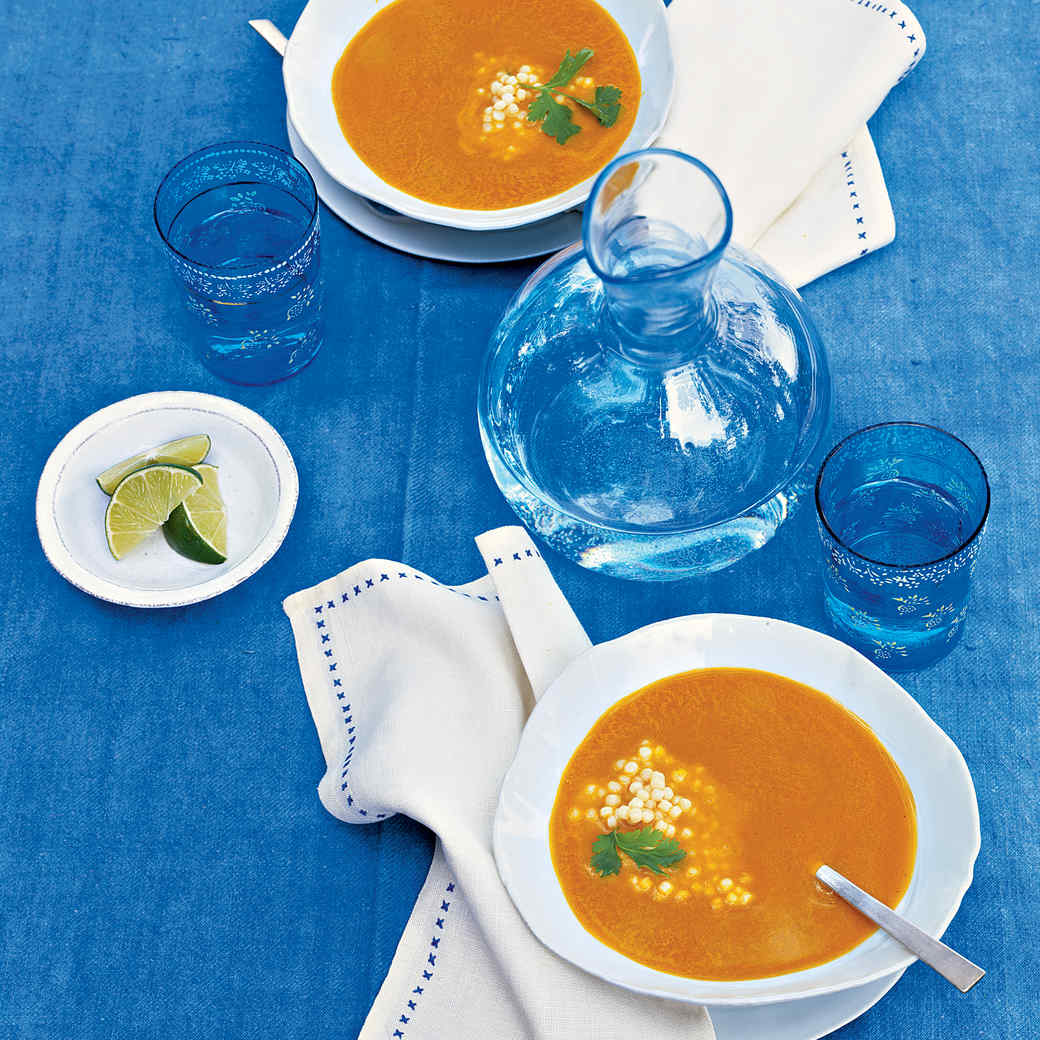 Curried Carrot Soup with Israeli Couscous