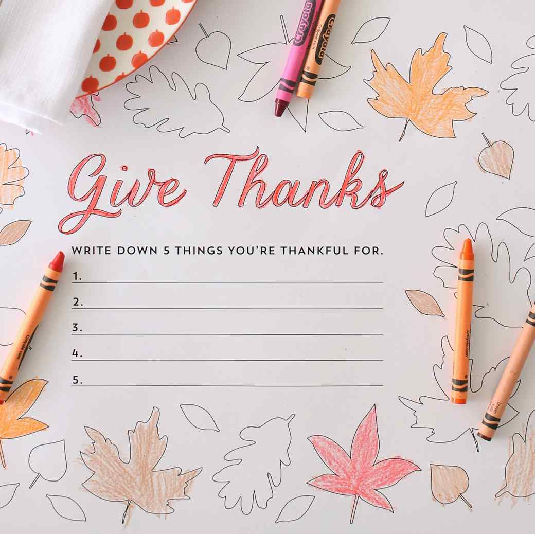 """""""Give Thanks"""" Thanksgiving Place Mats"""