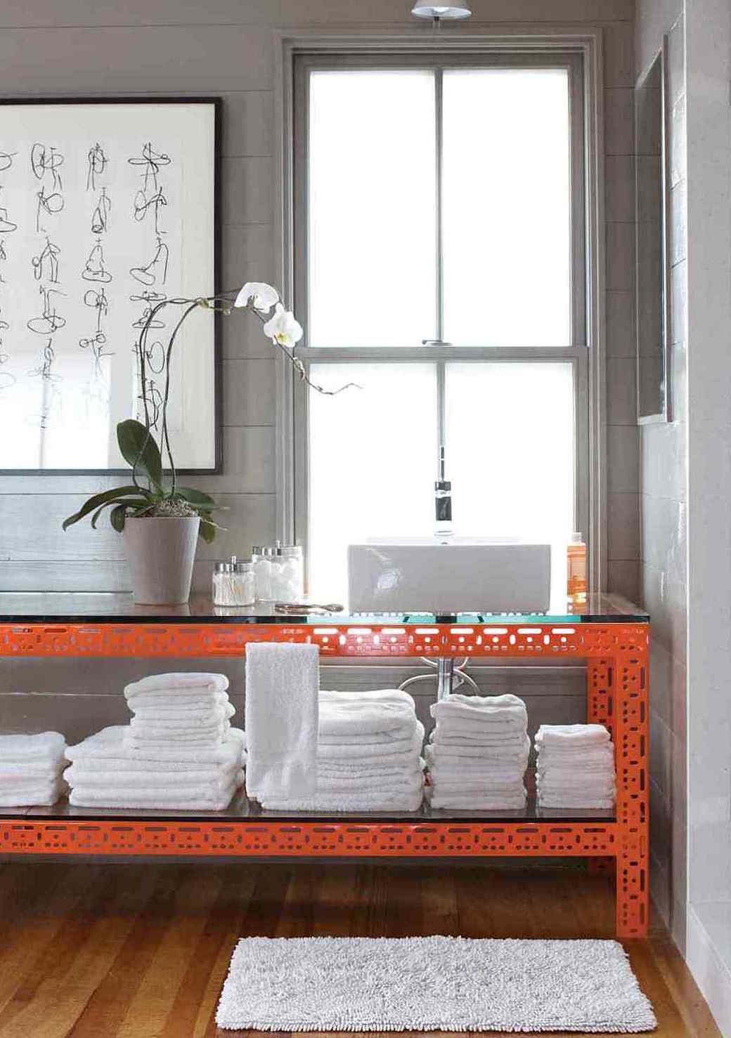 Orange and Gray Bathroom