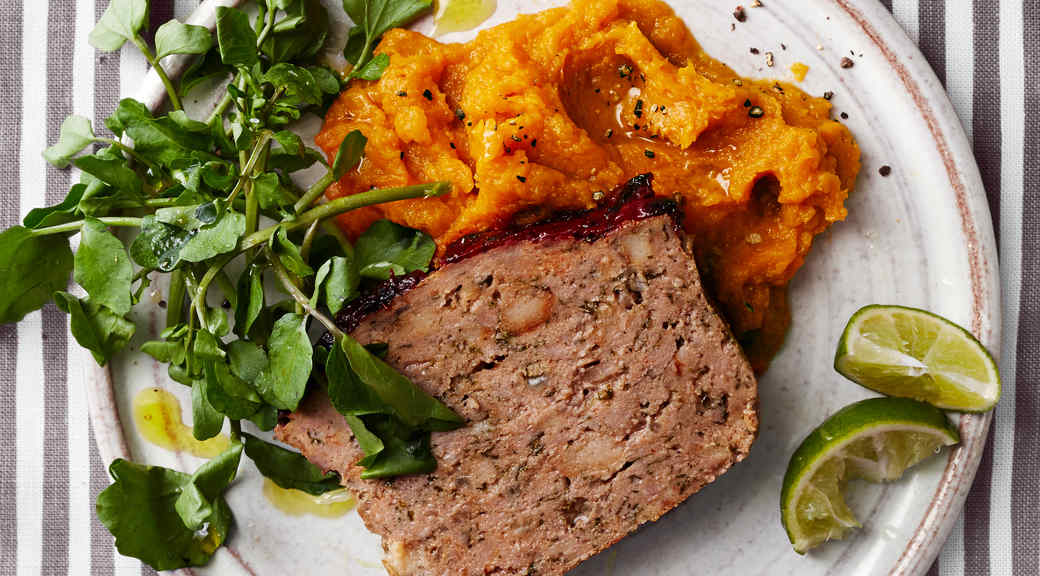 Chipotle-Glazed Meatloaf with Sweet Potatoes