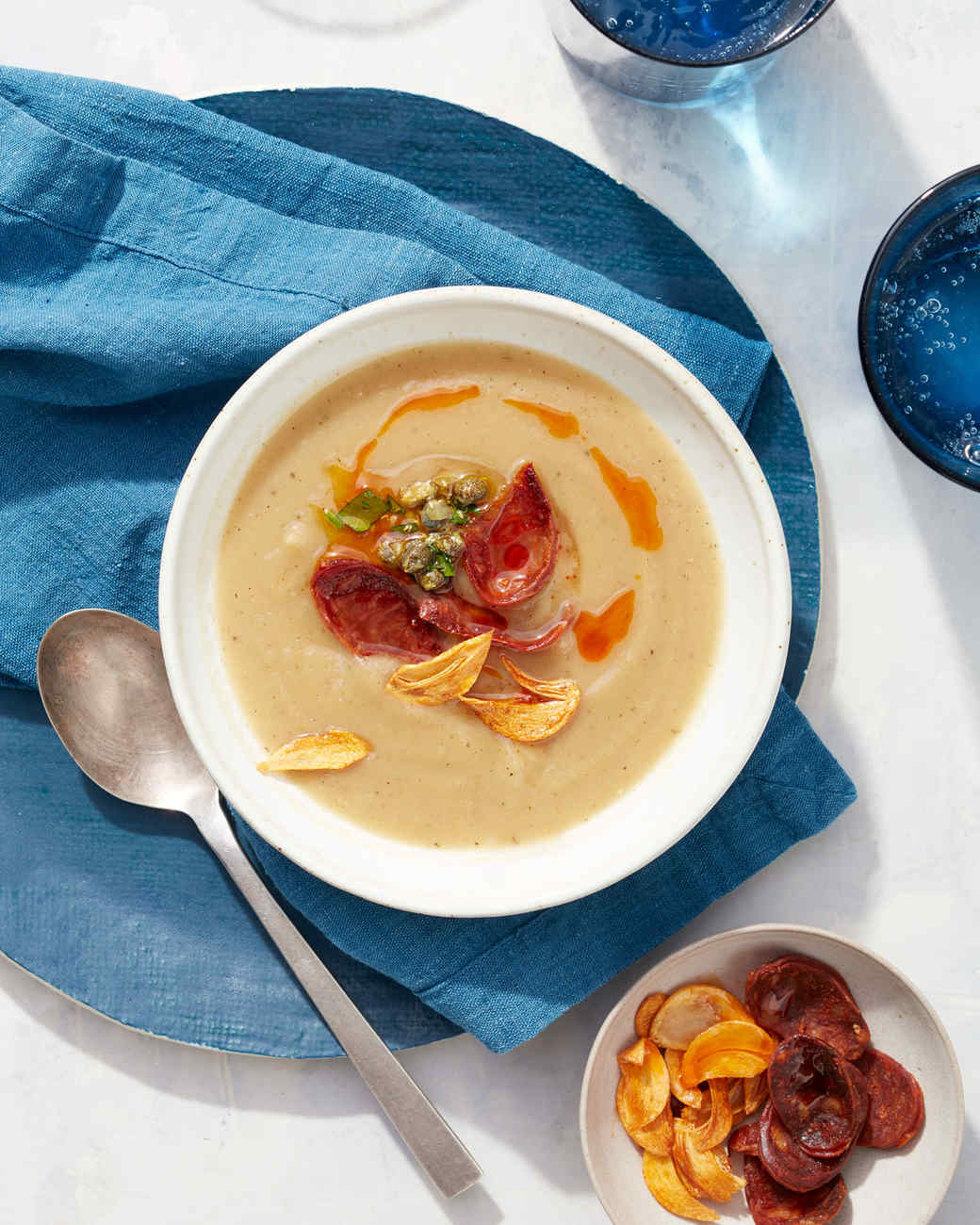 Roasted-Parsnip Soup with Chorizo